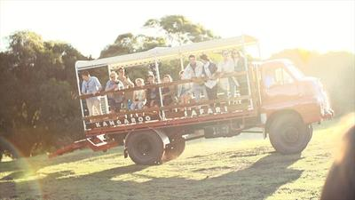 McLeod Tours classic bedford truck that visitors can jump on to explore Neil's own property for kangaroos and wildlife