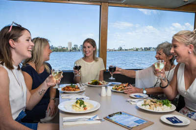 Delicious lunch cruise on the Swan River is an ideal way to enjoy with friends or for a birthday