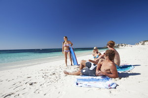 Relaxing on the beach at Rottnest Island