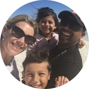 Chad and Lisa with their two children at Perth